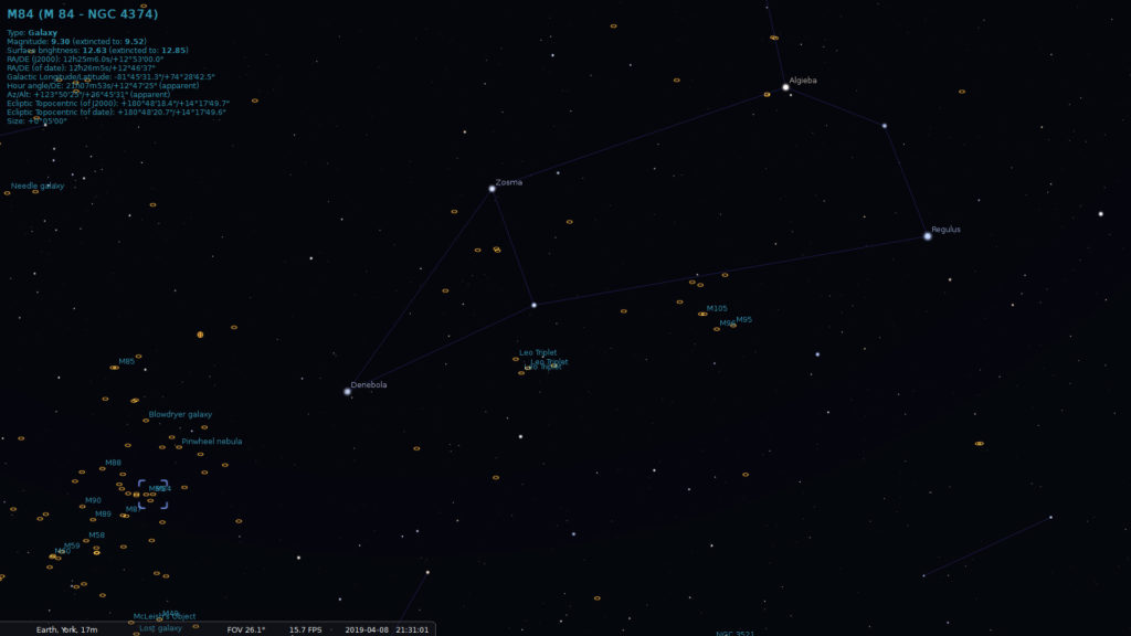 Leo and Virgo galaxy clusters