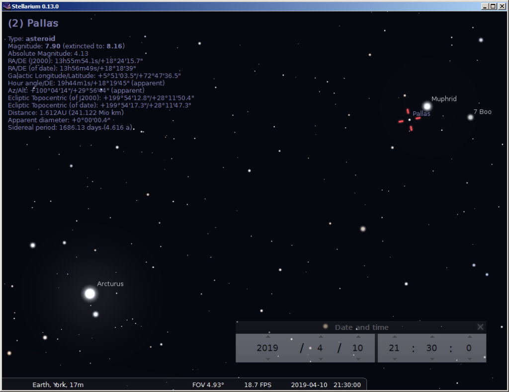 How to find the asteroid Pallas in the constellation Boötes