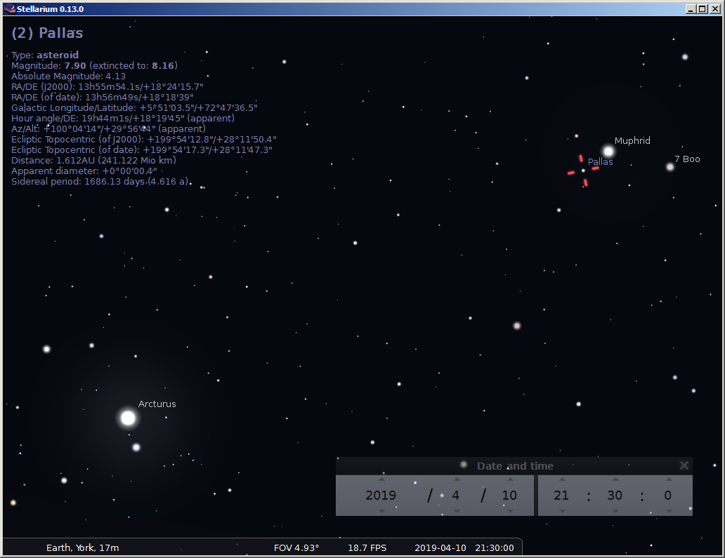 Locating the asteroid Pallas in Aril 2019