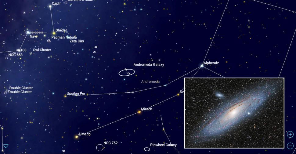 Finder chart for the Andromeda Galaxy