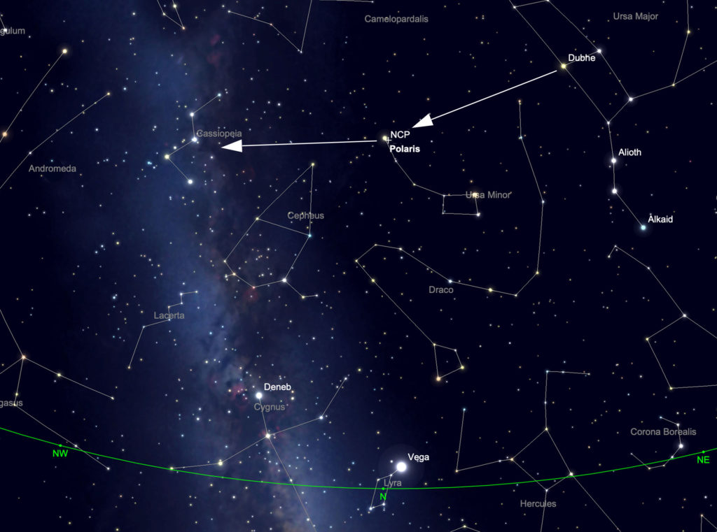Locating Cassiopeia in the night sky