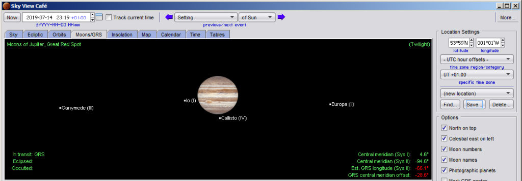 Screenshot of Jupiter showing the Galilean moons on 14 July
