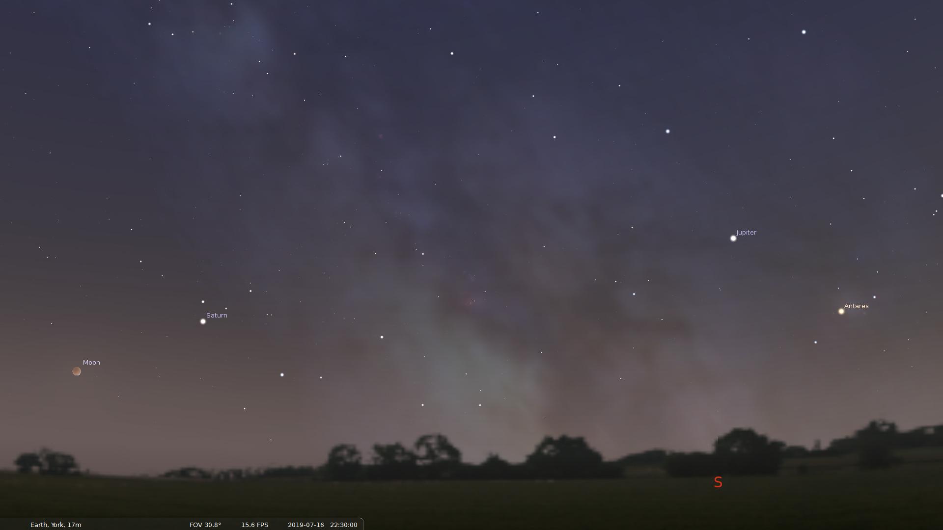 Night sky for partial lunar eclipse