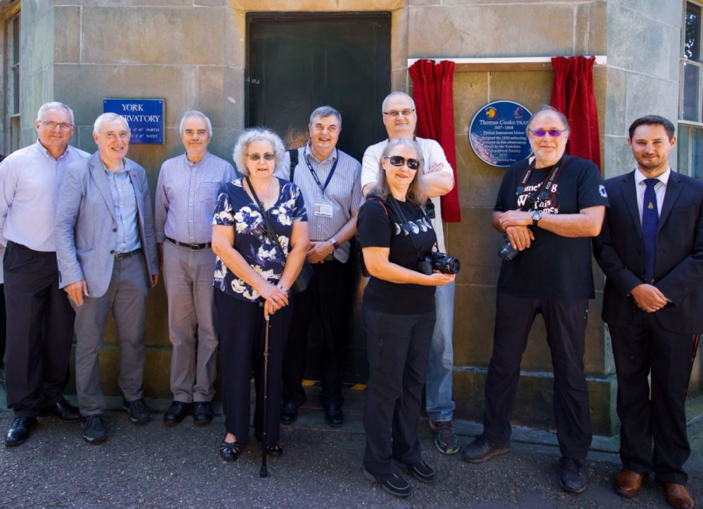 Astronomers at the Thomas Cooke plaque unveiling