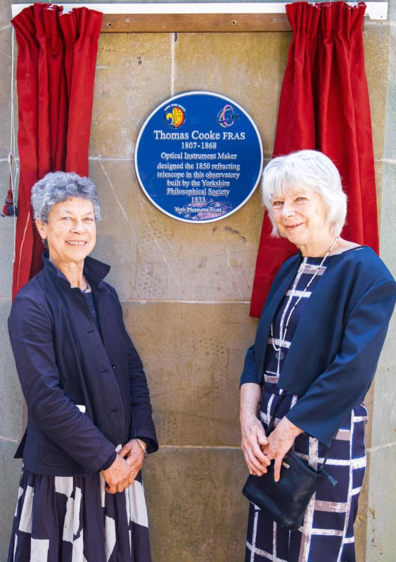 Dr Dorothy Nott of the Yorkshire Philosphical Society left and a direct descendant of Thomas Cooke with Iona Miles of the York Civic Trust