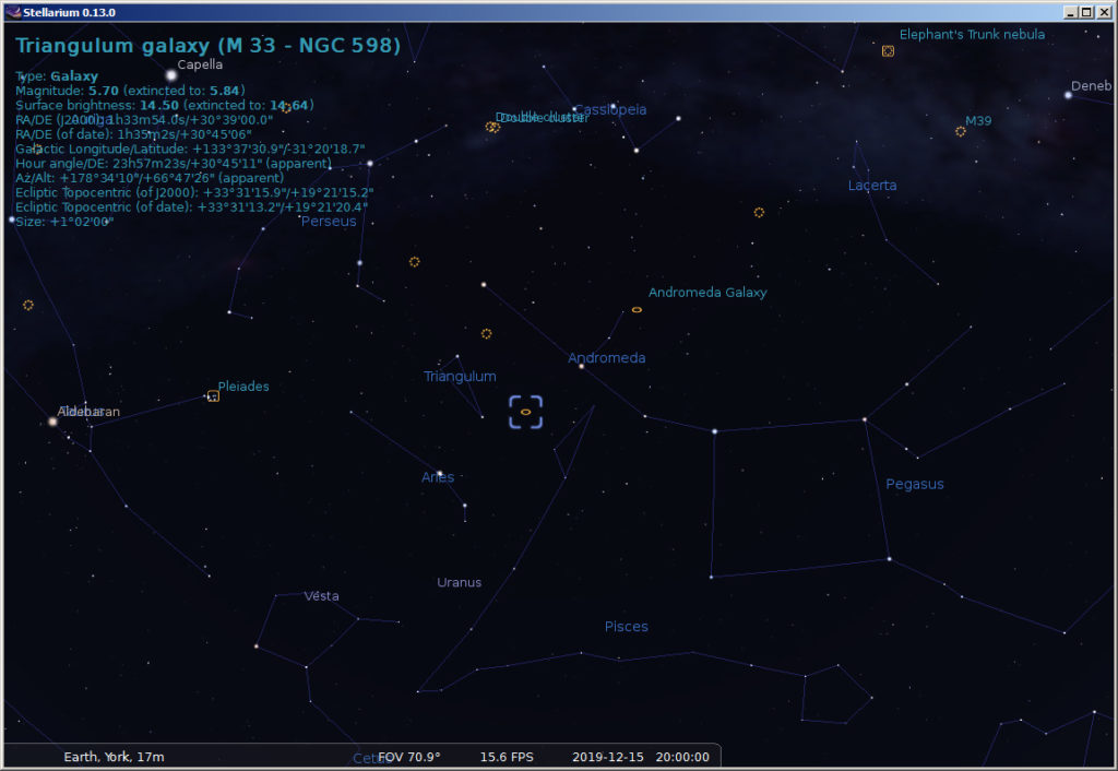 Deep sky objects visible in December